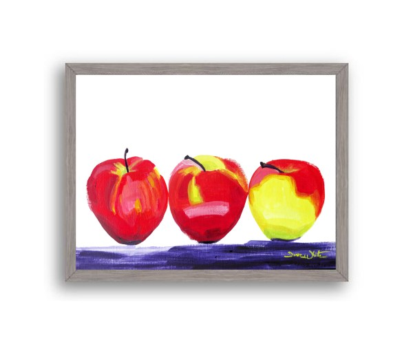 Apples Painting Grey Frame