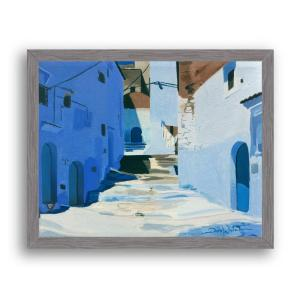 Chefchaouen Morocco Painting Art Print Charcoal Wood Frame