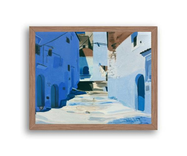 Chefchaouen Morocco Painting Art Print Walnut Wood Frame