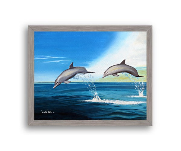 Dolphins Painting Grey Frame