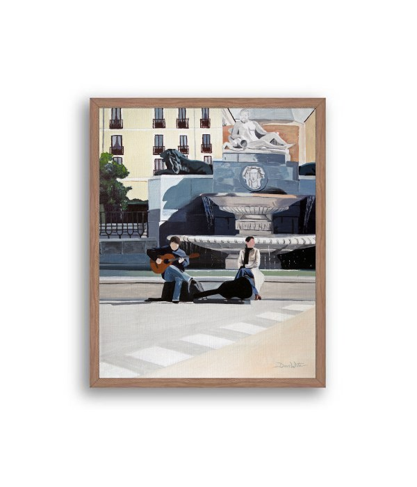 Madrid Plaza de Oriente Painting Walnut Frame