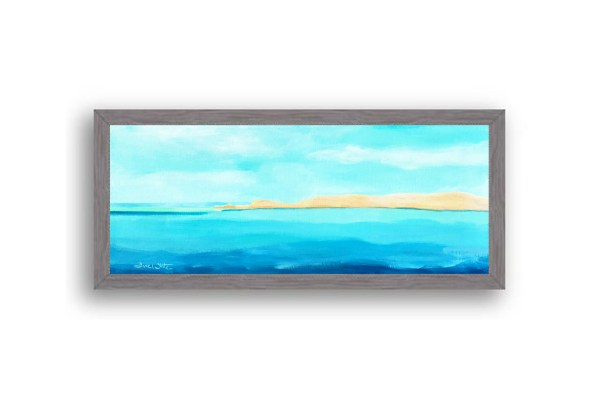 Formentera Spain Seascape Painting Charcoal Wood Frame