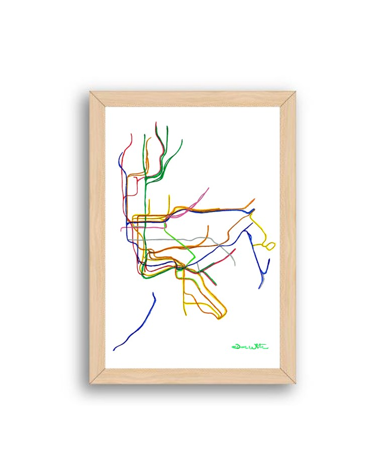 NYC-Subway-Map-Art-Print-Natural-Wood-Frame
