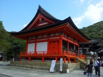 One of the many red shrines at Kiyomizu-dera temple in Kyoto
