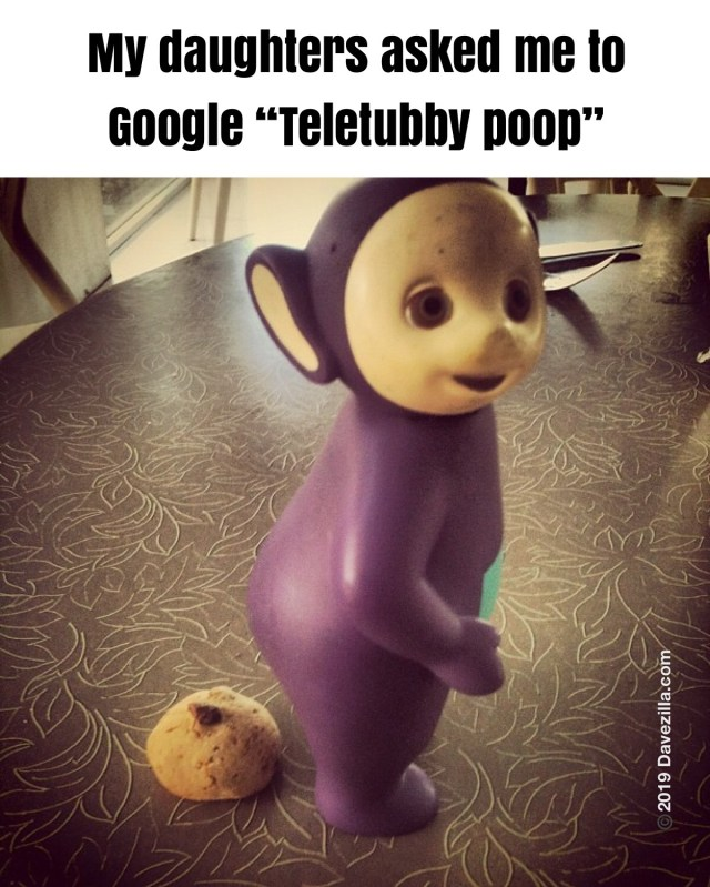 Teletubby pooping out a chocolate chip cookie