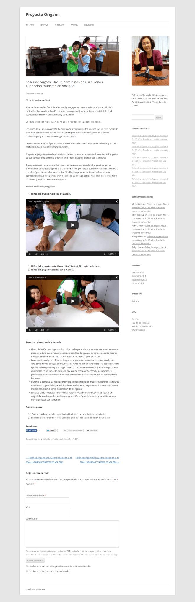 """Taller de origami Nro. 7  para niños de 6 a 15 años. Fundación """"Autismo en Voz Alta""""   Proyecto Origami"""