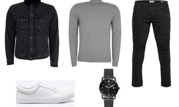 Zestaw #2: Kurtka jeansowa + spodnie biker + szary golf