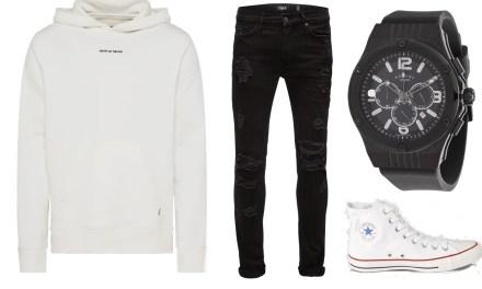 Zestaw #3: Jak się ubrać na luźną randkę? Biała bluza + jeansy