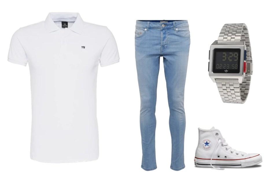 białe polo i jeansy