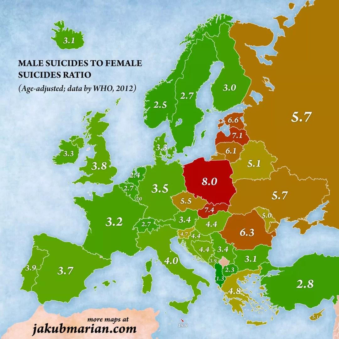 samobójstwa mężczyzn i kobiet ratio
