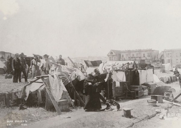 Early makeshift refugee shelters. California State Library, California History Room