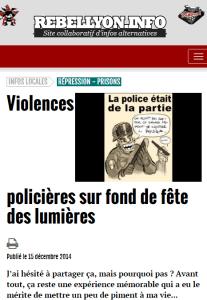Violences policières sur fond de fête des lumières Décembre 2014, Rebellyon, Lyon