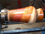 Diagonal multi-section vase on the lathe