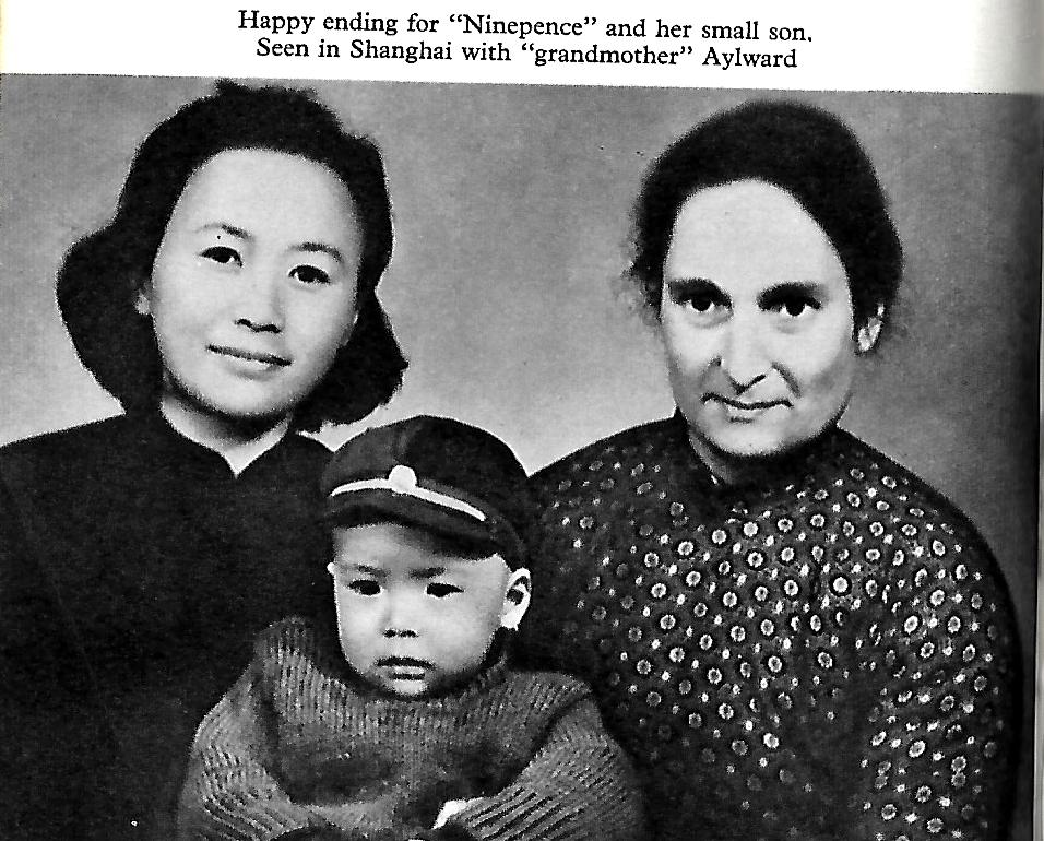 Gladys Aylward with Ninepence and her son at Shanghai