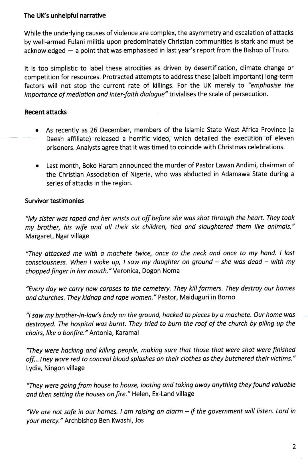 Baroness Cox Report on Nigeria