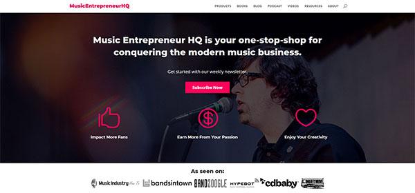 Music Entrepreneur HQ above the fold