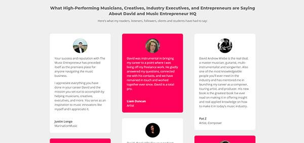 Music Entrepreneur HQ testimonials