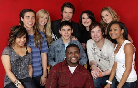 AMERICAN IDOL: Top 10. Pictured Clockwise from L: Ramiele Malubay, Jason Castro, Brooke White, Michael Johns, Carly Smithson, Kristy Lee Cook, Syesha Mercado, David Cook, David Archuleta (C) and Chickezie (bottom C). Fox Broadcasting Co. Cr: Frank Micelotta/FOX