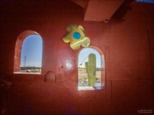 Windows and Cactus, Shrine Near El Cien, Highway 1, Baja California Sur, Mexico