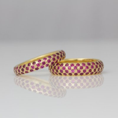 Rubies pave' set in 18ct yellow gold