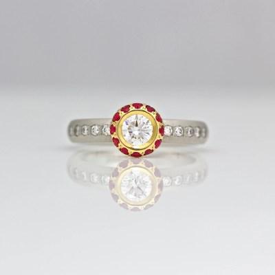 Contemporary diamond & ruby ring