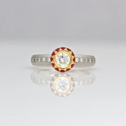Contemporary diamond & ruby ring
