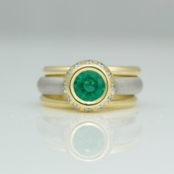 emerald & diamond stacking ring