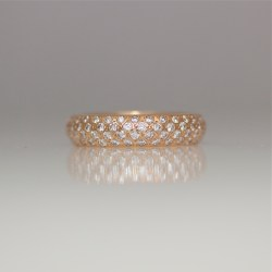 pave' set rose gold ring