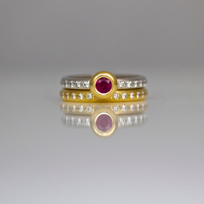 Ruby & diamonds ring set