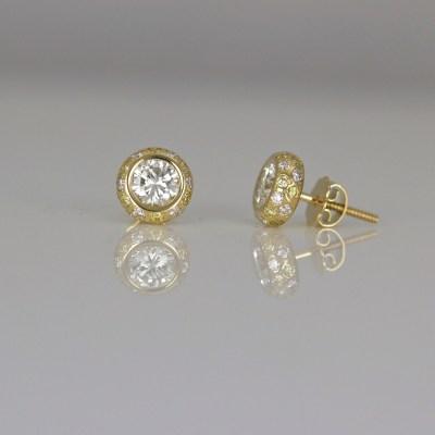 pave yellow white diamond ear-studs