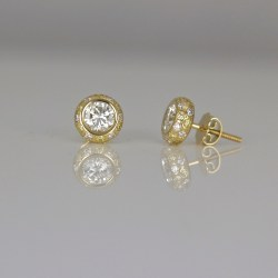 pave yellow white diamond ear-studs