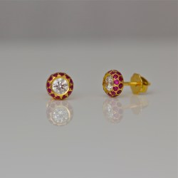 Perfect diamond ruby ear-studs