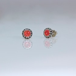 Orange Sapphire black diamond ear-studs