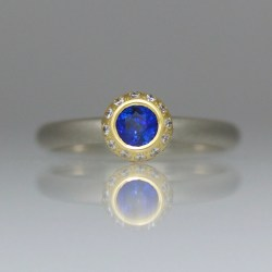 sapphire & diamond contemporary engagement ring