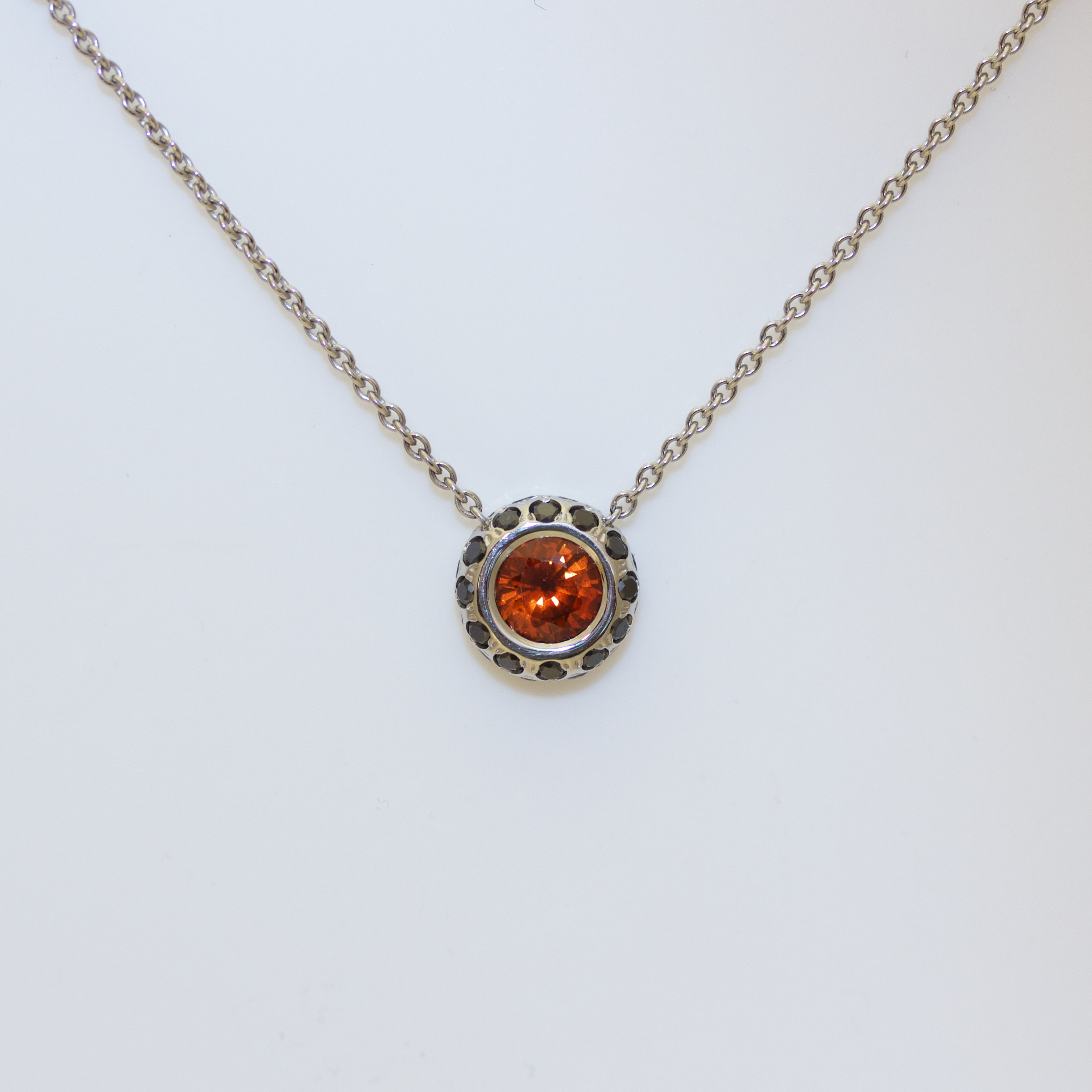 Orange sapphire black diamond necklace aloadofball Gallery