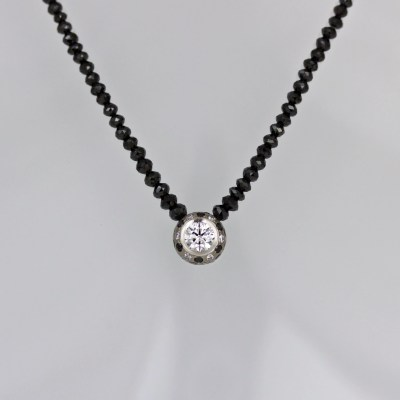 White black diamond necklace