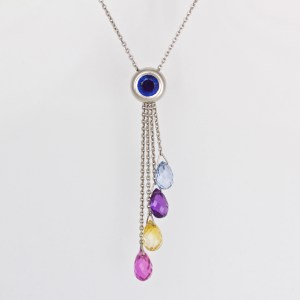 Natural fancy colour sapphire necklace set in Platinum