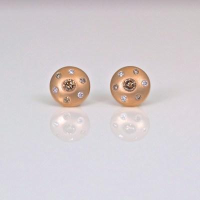 Pink diamond rose gold ear-studs