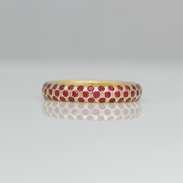 modern ruby anniversary ring