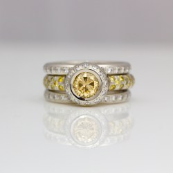 Contemporary yellow diamond ring set