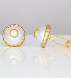 Unique contemporary diamond pearl 18ct cufflinks