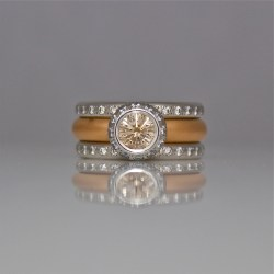 Pink champagne diamond rose gold wedding ring set