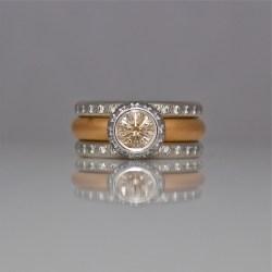 Pink champagne diamond rose gold wedding ring set