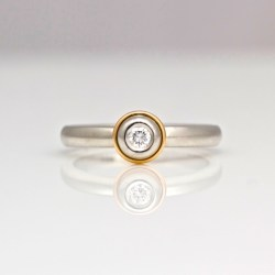 Platinum & diamond with rose gold ring