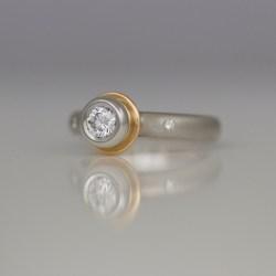 rose gold platinum diamond ring