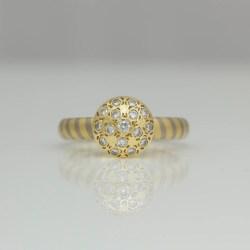 Pave set modern engagement ring