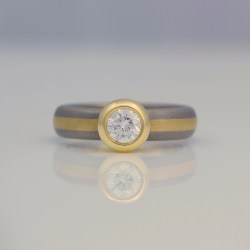 rub-over set diamond ring striped band