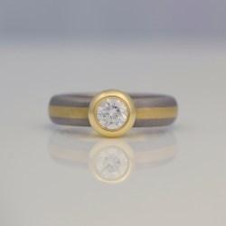 rub-over set diamond ring striped band
