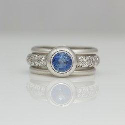Sapphire diamond platinum stacking ring