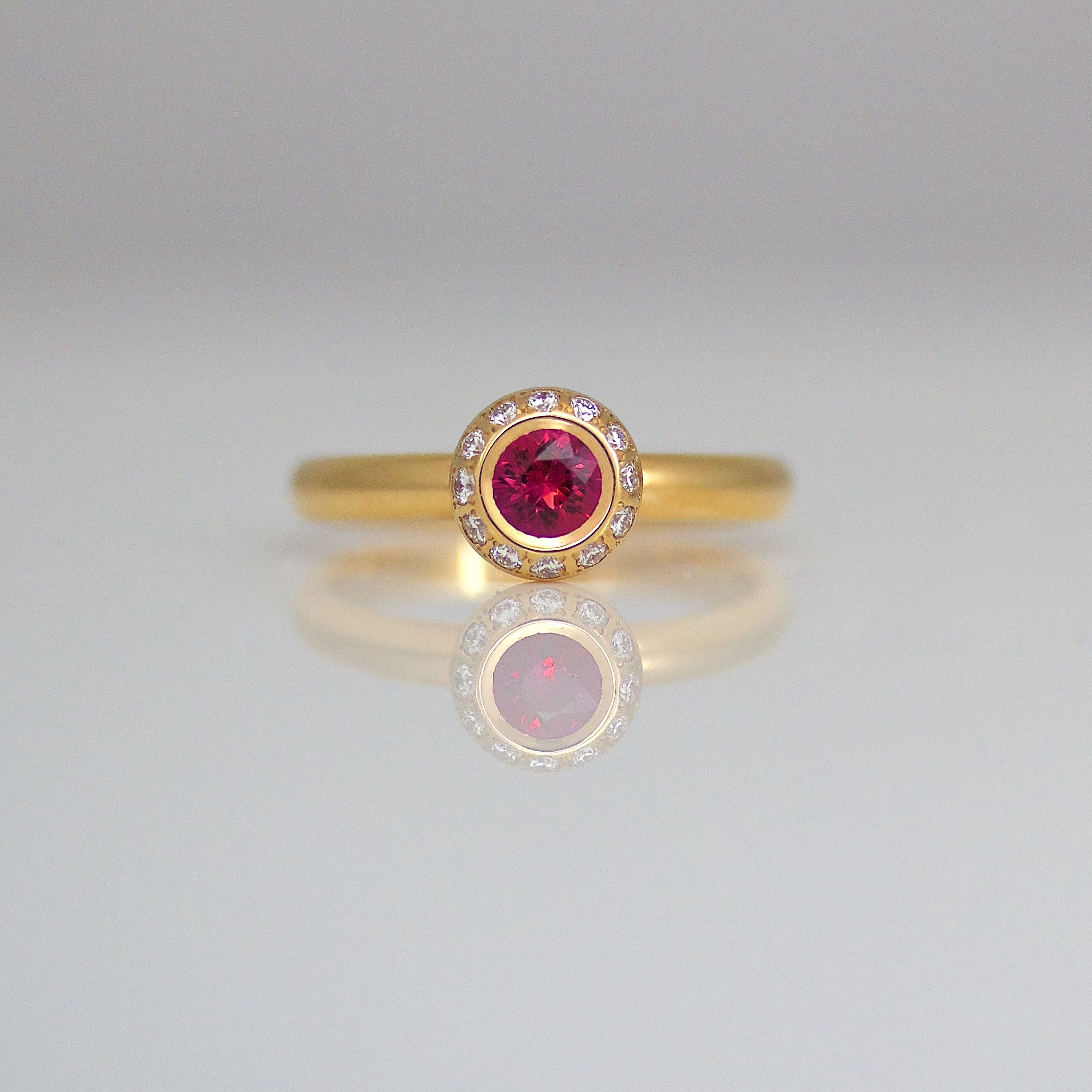 tourmaline pink with diamond gold ring and diamonds product rose